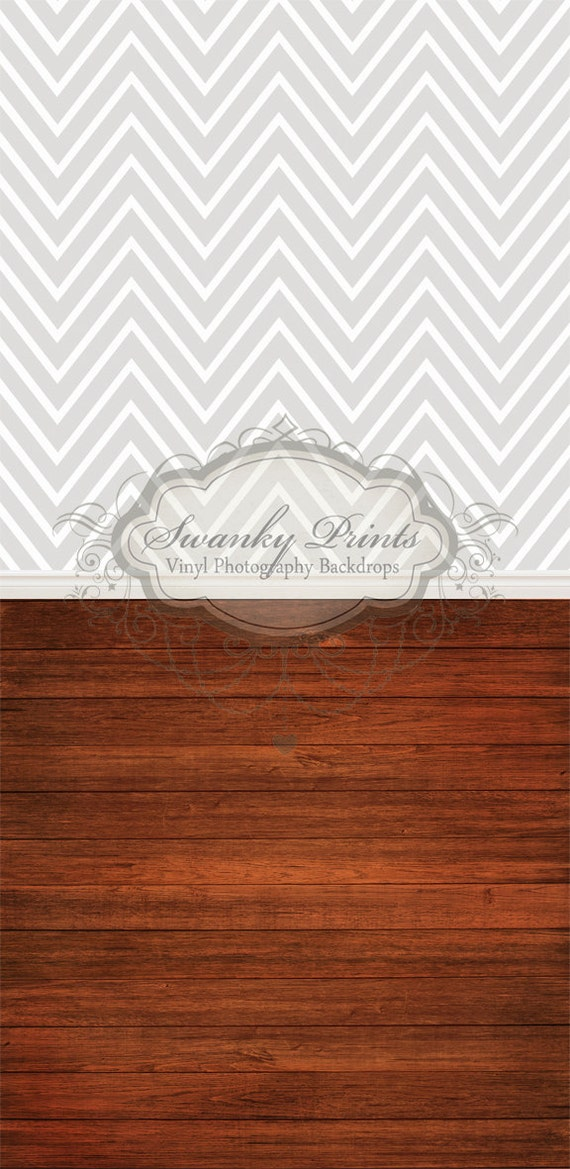 "ALL IN ONE 42"" x 87""  Vinyl Photography Backdrop /  Silver Large Print Chevron and Red Wood"
