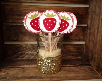 Cupcake Toppers - set of 12 - Strawberry Red Gingham
