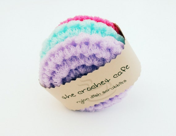 Sweet Summer Pastels: Crochet Kitchen Dish Scrubbies Set of Three, Made with Nylon Netting, Eco-Friendly and Reusable