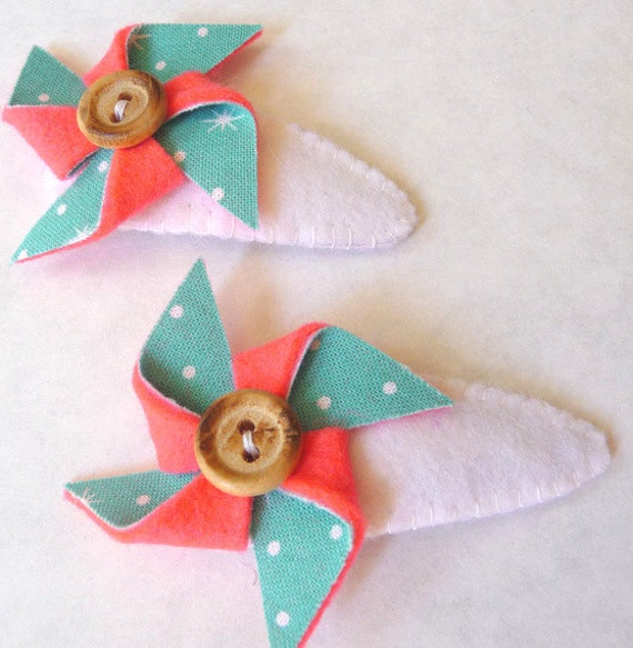 Coral and Turquoise Vintage Inspired Pin Wheel Barrettes