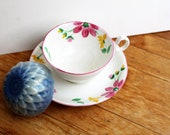 flower soap vintage tea cup & saucer gift set with vintage fine bone china cup and handmade flower soap in green tea or lilac scent