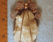 XL Time Link Door Angel Wire Wrapped Pendant with Rainbow Arkansas Quartz Crystal Abundance  Cluster