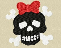 Gothic Girl Skull Embroidery Design