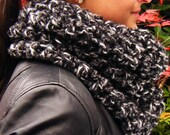 On Sale Bulky Weight Crochet Cowl Scarf in Charcoal Grey