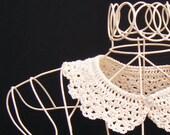 Cream Peter Pan Detachable Collar Lace Crochet Women's Accessory