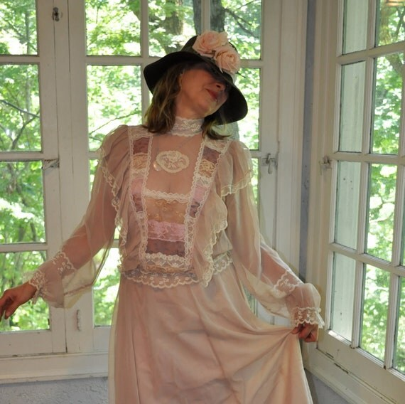Romantic Edwardian Style Vintage 1970s Sheer Lace Trimmed 2 Piece Dress. Tea Length. Summer Formal Boho Wedding