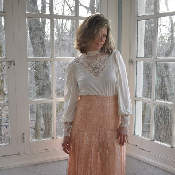 RESERVED FOR LISETTE Gracious Vintage 1980s Does 1910s Peach Pleated Lace Tea Skirt Suit With Seed Pearl Passementerie Trim