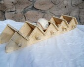 architectural salvage wood shelf white shabby chic coat rack message letter holder wall shelf