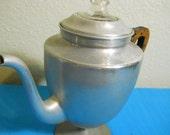 Tea Kettle Percolator Coffee Pot aluminum wood handle glass top 1950s