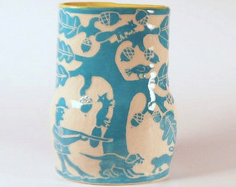 POTTERY Flower VASE Sgraffito Folk Art - Stoneware Turquoise Handmade Ceramic - Carved Tree, Hunter, Man, Animals - Personalize Color