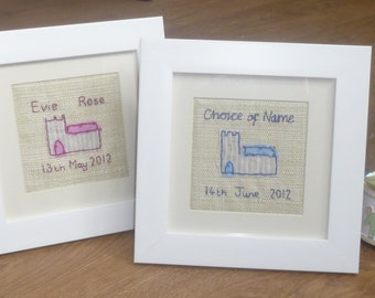 Christening / Baptism Gift Framed. Name, Date and Church are Hand Sewn and Embroidered in Pink. Colour and venue can also be personalised.