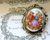 Vintage Fragonard Painting Brooch - Rococo, Late Baroque, Renaissance, Neoclassic - french painter, oval courting couple
