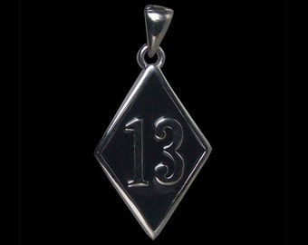 Stainless Steel 13 Bad Luck or Lucky Diamond Face Biker Pendant with Black Enamel - Free Shipping