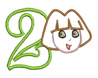 Dora Applique, Embroidery Design, Dora the Explorer Applique (122) Instant Download
