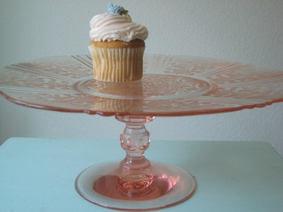 11.5 Pink Depression Glass Cake Stand / Pink Wedding Pedestal Cake Stand / Pink American Sweatheart Cupcake Stand / Pink Glass Baby Shower