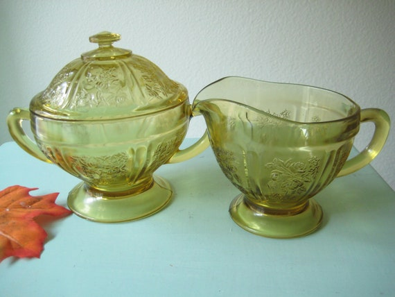 Yellow Amber Depression Glass Cabbage Rose Sharon Retro Cream and Sugar Set