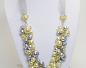 Gray and Yellow Cluster Necklace, Bridal Jewelry, Gray Chunky Necklace, Grey Wedding Necklace, Bib Pearl Necklace, Pearl Cluster Necklace.