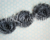 1/2 Yard Dark Gray Dot Chiffon Flower POLKA DOT Rose Trim