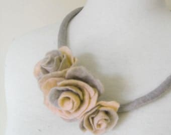 Fiber Felt Necklace Flower Necklace Collar Gray Yellow gift for her woman