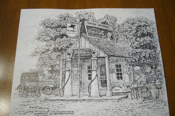 Old Gas Station Drawing Vintage Print of Penci...