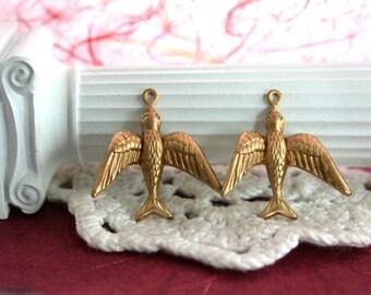 Bird Charms, Brass Stampings, Bird Stampings, Brass Bird Stampings, Brass Birds, Birds, Swallows STA-023