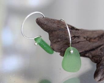 Sea Glass & Sterling Earrings - Emerald Green - FREE SHIPPING