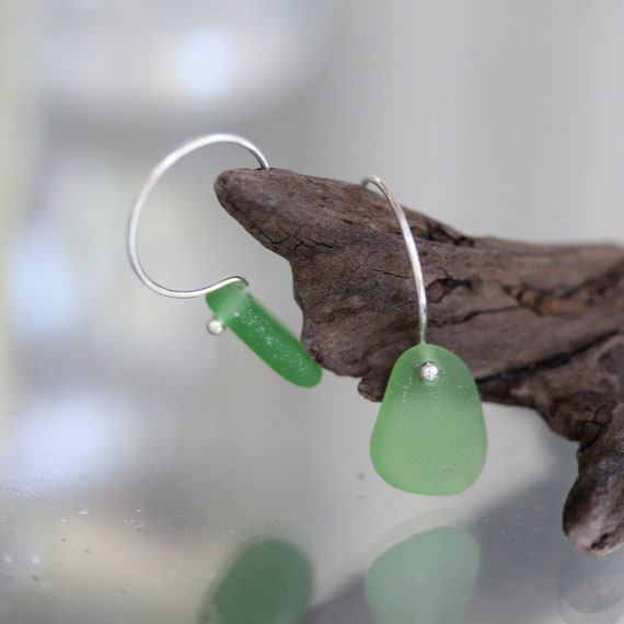 Sea Glass & Sterling Earrings - Emerald Green - FREE SHIPPING
