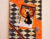 Lady in Black Halloween Card with Vintage Image, Orange and Black, Handmade Notecard, Elegant Lady and Big Pumpkin, Witchy Woman