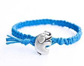 Elephant Bracelet, Elephant Jewelry, Elephant Button Bracelet, Hemp Bracelet, Elephant Charm, Charm Bracelet, Friendship Bracelet