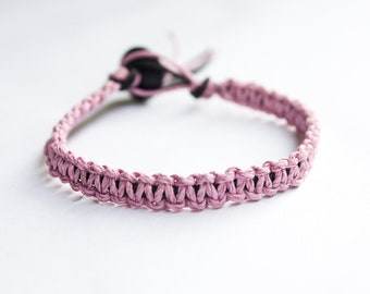 Pink and Black Hemp Bracelet Friendship Stackable