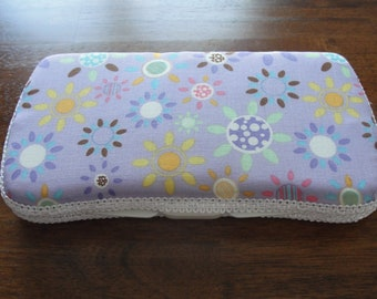 Travel Baby Wipes Case Girls Purple Floral Boutique Wipes Case
