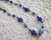 SALE Ocean Blue Beaded Necklace