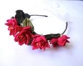 Festival Hair Wreath, Bridal Headband, Dark Pink Roses Hair Band, Red Roses Head Band, Wedding Flower Crown, Mori Girl, Boho Bohemian
