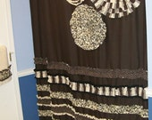 Shower Curtain Custom Made Designer Fabric Ruffles and Flowers Neutral Chocolate Brown, Tan, Cream, Black Dots Stripes