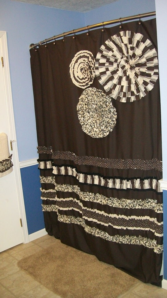 Items Similar To Shower Curtain Custom Made Designer Fabric Ruffles And Flowers Neutral