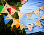 Primary Little Brother Burlap Bunting Banner (can customize colors): It's a Girl, It's a Boy, Baby Announcement Photo Prop, Small Bunting
