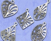 Hollow Pattern Charm Pendant Assorted Silver 26x20-42x27mm - 6pcs- Ships Immediately from California - SC265