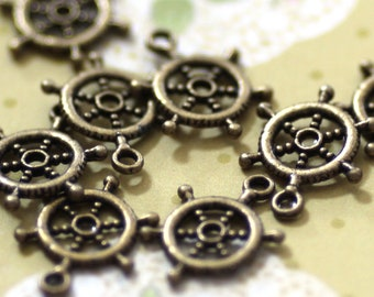 45 Rudder Charms - WHOLESALE - Antique Bronze - 20x15mm - Ships IMMEDIATELY from California - BC82a