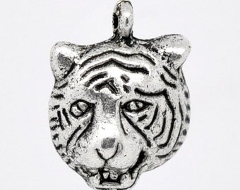 10 Silver Tiger Charms - 18x13mm - Ships IMMEDIATELY  from California - SC271