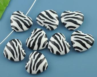 20 Zebra Heart Beads -  WHOLESALE - 26x23mm - Ships IMMEDIATELY  from California - B145a