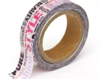 "SALE Washi Tape - Pink and Purple ""Style Fashion""  - 15mm x 10m - TP169"