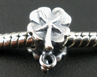 SALE 925 Sterling Silver Bail Bead - Four Leaf Clover - 8x9mm - Ships IMMEDIATLEY from California - B372