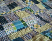 Handmade Baby / Toddler Boy Quilt - Blue, Green and White - 100% Cotton