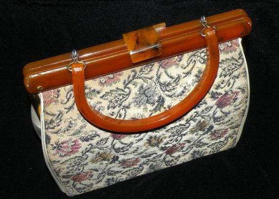 Vintage Brocade Handbag Purse 1950s Lucite