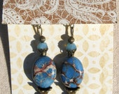 Dangle Gemstone Beaded Earrings, Blue Ocean Jasper and Antique Brass Earrings, Womens Jewelry