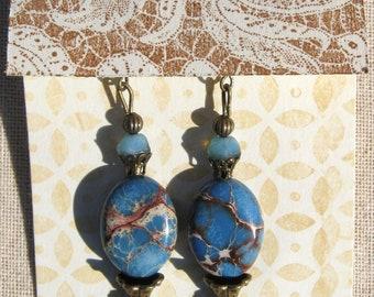 Dangle Gemstone Beaded Earrings, Blue Ocean Jasper and Antique Brass Earrings, Womens Jewelry