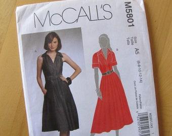 Uncut McCalls Sewing Pattern 5801 - Misses Dress - Size 6-14