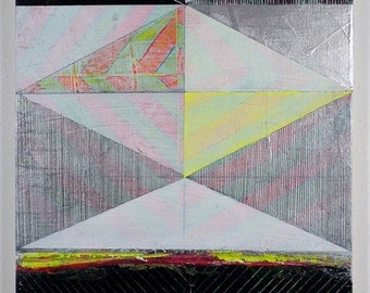 12x16 Geometric Abstract Painting, Silver & Black on Panel NY1141