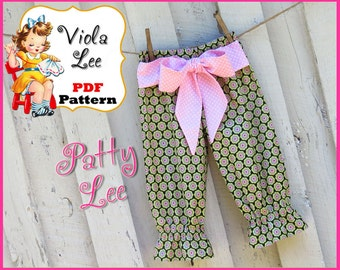 Patty... Girl's Sewing Pattern, Girl's Ruffle Pants Pattern, Capris Pattern, Toddler Sewing Pattern, Toddler Pants Pattern, INSTANT DOWNLOAD