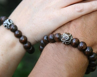 His and Hers Yogi inspired Buddha bracelet with wood beads and painted Chinese Jade for man and woman